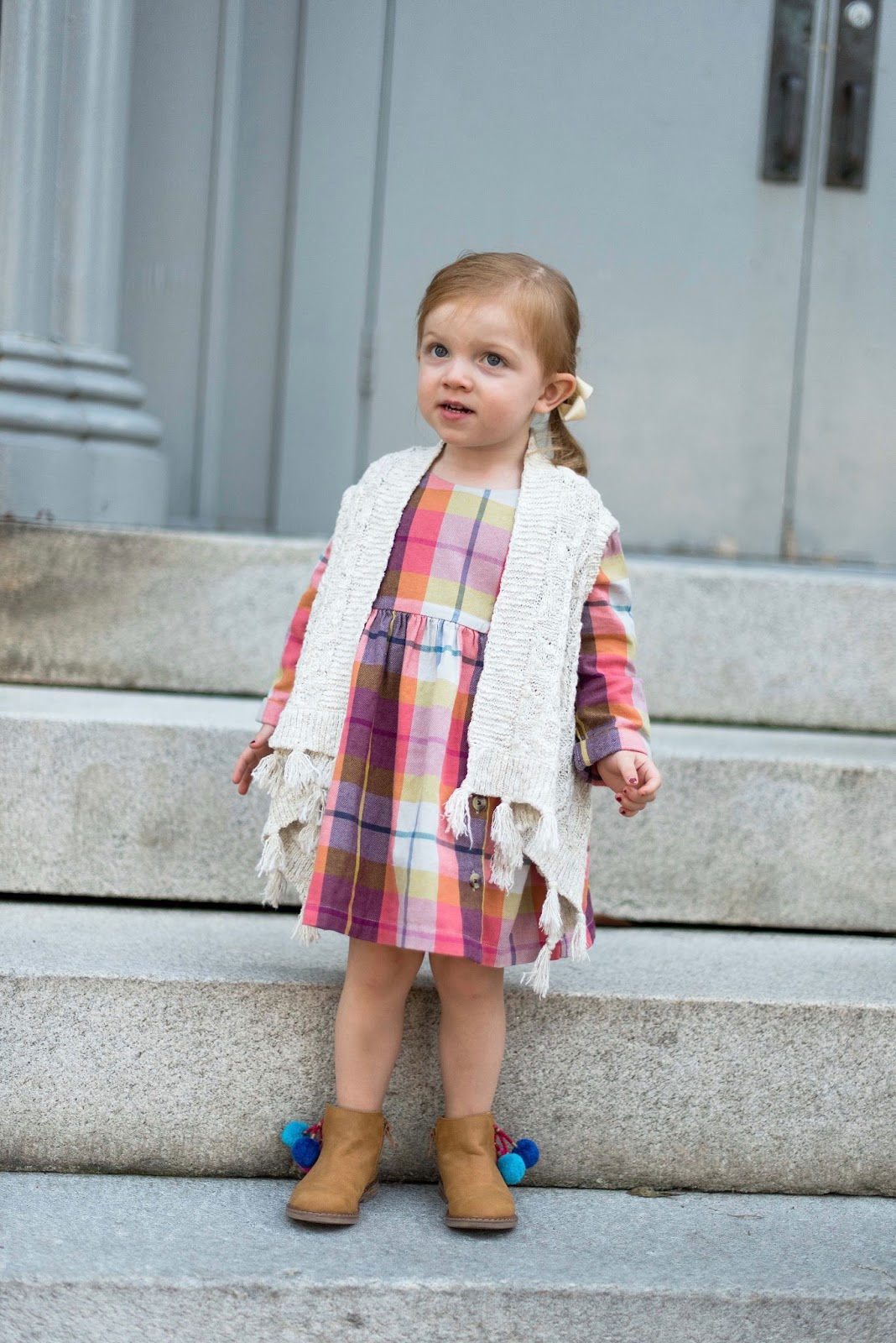 Toddler Fashion: Plaid Flannel Dress + Tassel Vest - Something Delightful Blog