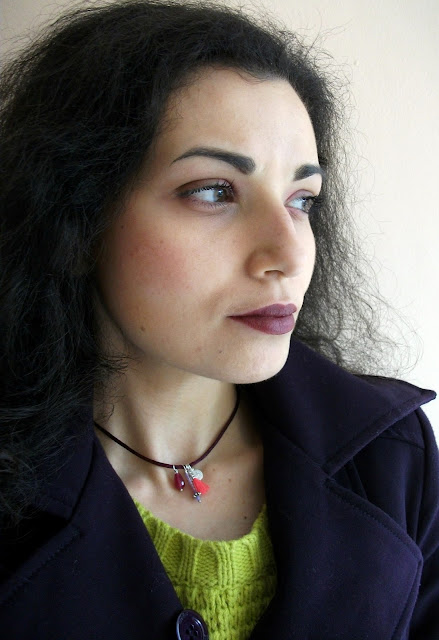 Matching a posh handmade choker by Marta Roura Castellò and cherry make-up with Bite Beauty The Multistick in Cerise Valentina Chirico