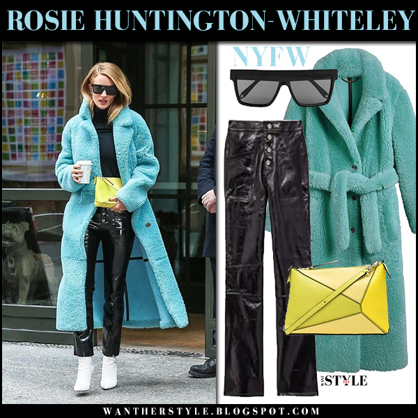 Rosie Huntington-Whiteley in mint blue teddy shearling coat burberry and black patent leather rta pants new york fashion week outfits february 10