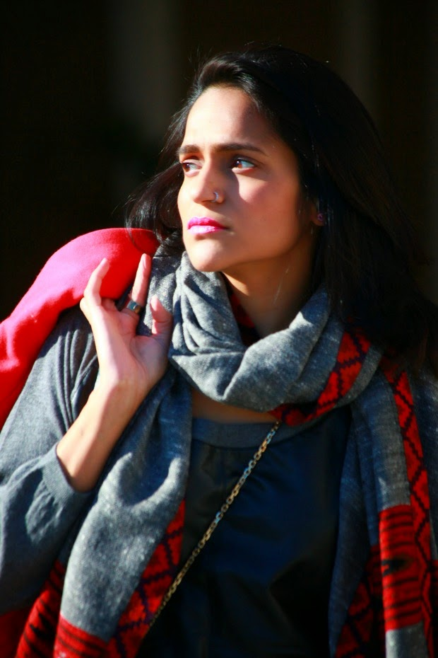 Jacket - From London Dress - C&C California Boots - Calvin Klein Scarf - From Delhi Rings - Crazy & Co.., Tanvii.com