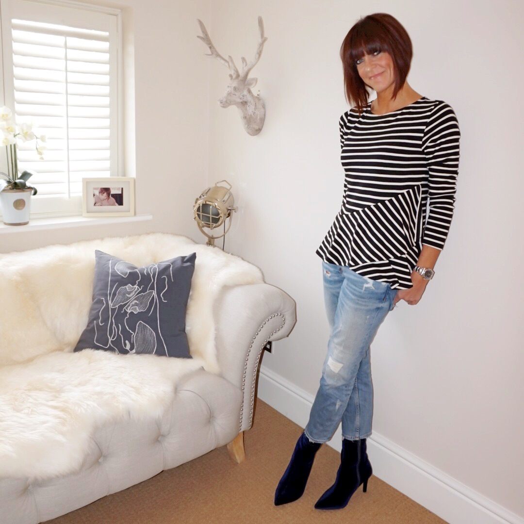 my midlife fashion, people tree julianne frill top black, zara distressed skinny jeans, marks and spencer stiletto heel side zip ankle boots