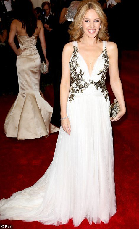 Kylie Minogue in a white Marchesa gown at the Met Gala 2014