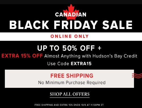 Hudson's Bay Canadian Black Friday Sale