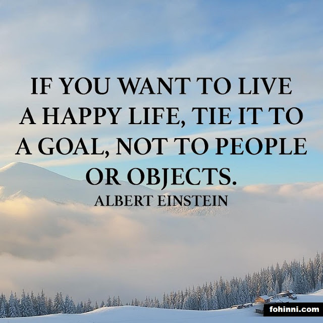 If you want to live a happy life, Tie it to a goal, not to people or Objects. -Albert Einstein