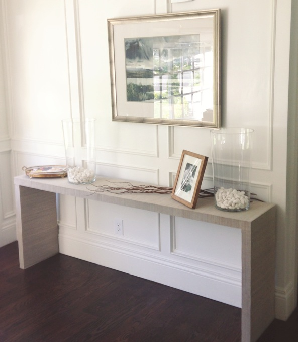 WHITE + GOLD: IKEA HACK - MALM TABLE TO GRASSCLOTH CONSOLE