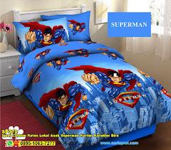 Sprei Custom Katun Lokal Anak Superman Kartun Karakter Biru