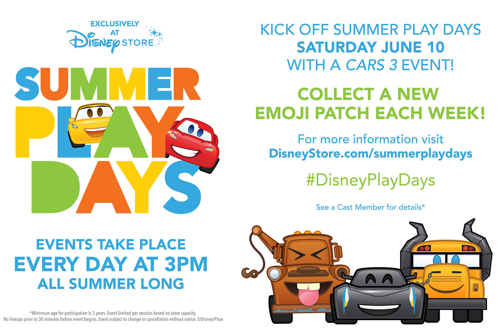 Summer Play Days At The Disney Store Cars 3 Events Emoji Patches