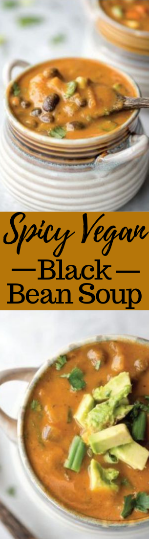 SPICY VEGAN BLACK BEAN SOUP #recipe #easy