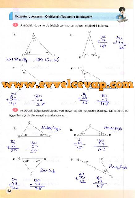 4. Sınıf Yakın Çağ Yayınları Matematik Çalışma Kitabı 52. Sayfa Cevapları