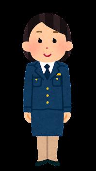 警察官のイラスト(女性・制帽なし・スカート・若者)