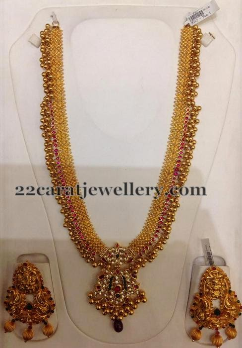 Gundla Mala With Earrings 130gms Jewellery Designs