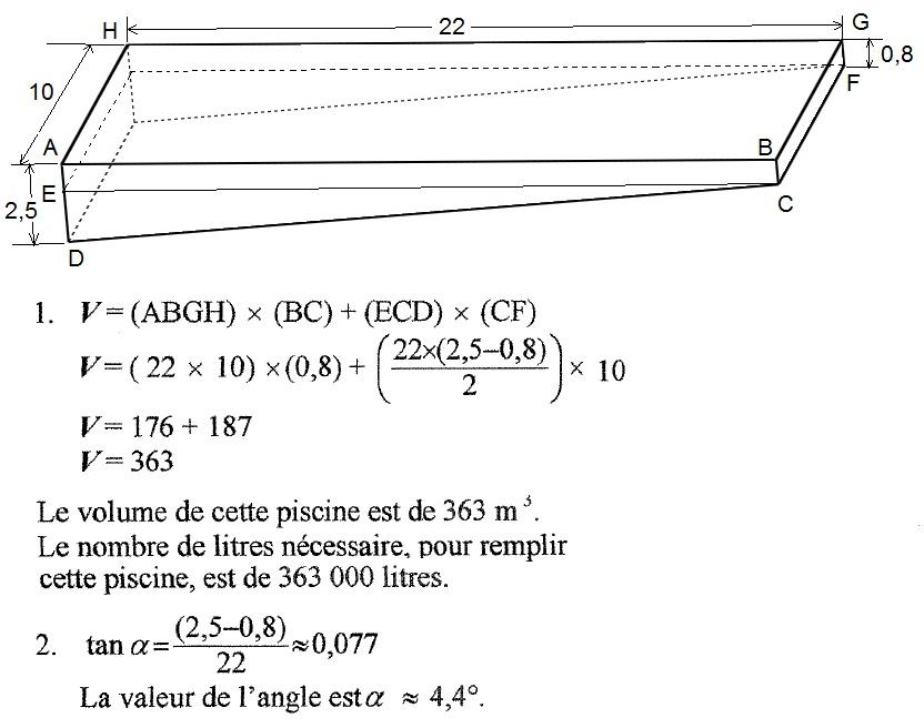qcm concours gratuits exercice de math matique calcul du volume d 39 une piscine correction. Black Bedroom Furniture Sets. Home Design Ideas