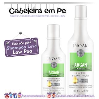Shampoo e Condicionador Argan Infusion Reconstrução - Inoar (Low Poo)