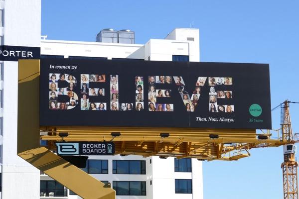 In women we Believe Lifetime 35 years billboard