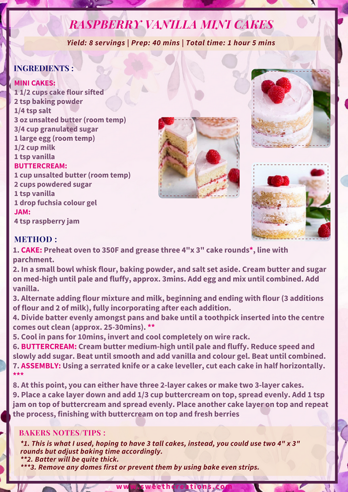 RASPBERRY VANILLA MINI CAKES RECIPE