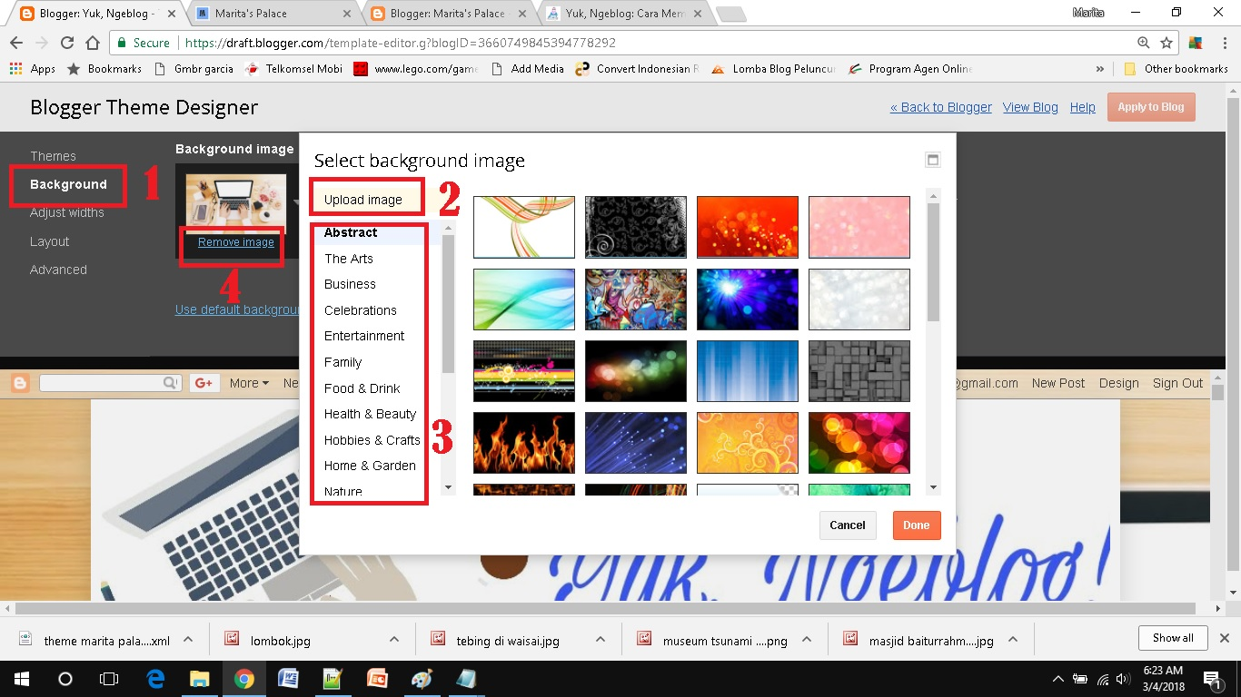 mendesain template blog sederhana memilih background