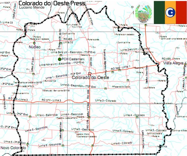 Mapa do município de Colorado do Oeste
