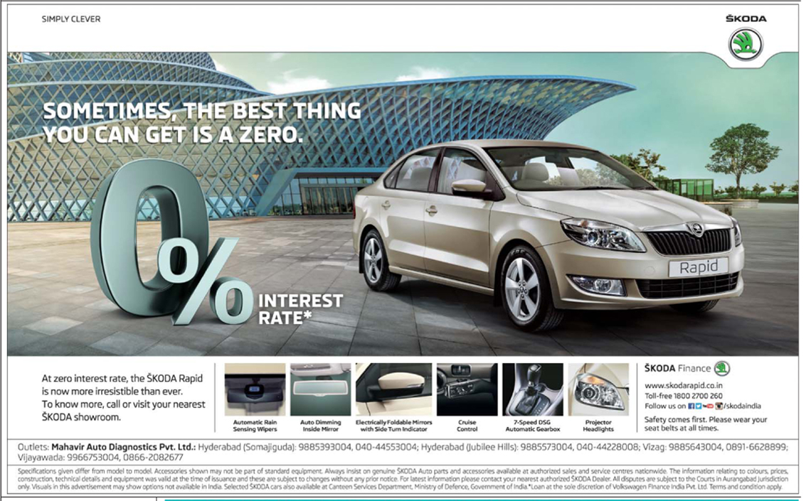 Some times Zero has value | Skoda Rapid is now with Zero (0) % rate if interest offer  | March 2016 discount offer