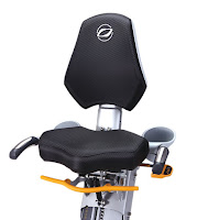 Wide cushioned seat with 20 height & 5 tilt adjustments on Octane Fitness xR6xi Recumbent Elliptical