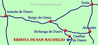 Situación de la Ermita de San Baudelio, Soria