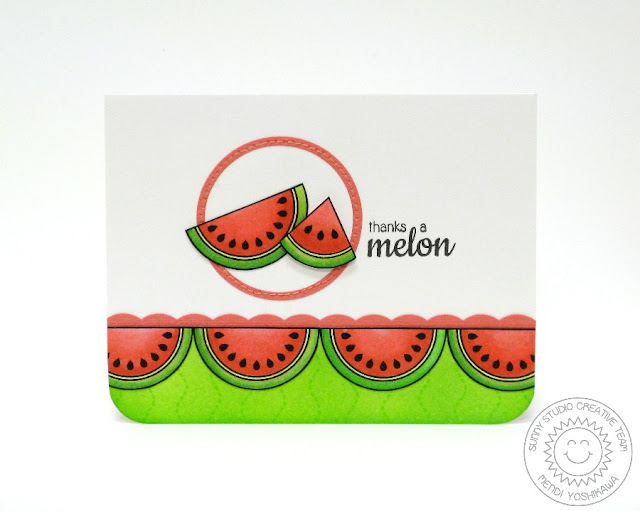 Sunny Studio Stamps: Fresh & Fruity Watermelon Card by Mendi Yoshikawa