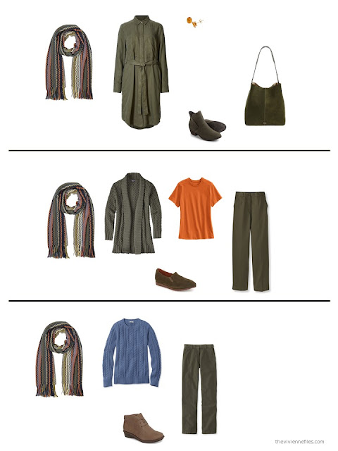 3 outfits with a Missoni scarf and olive garments