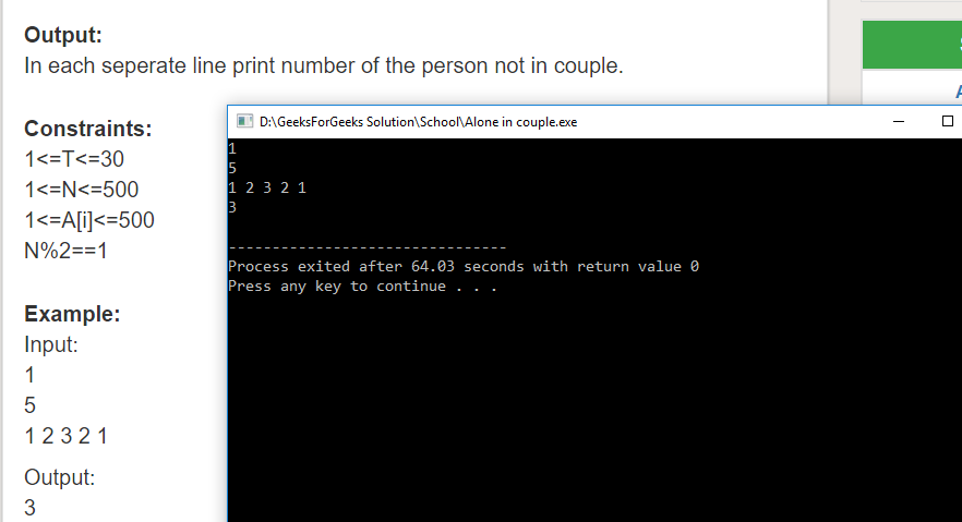 """Geeksforgeeks Solution For """" Alone in couple """""""