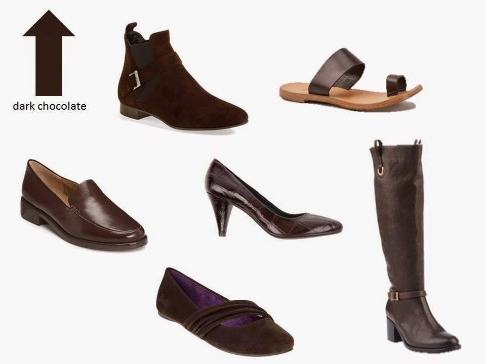 six classic shoe styles in dark chocolate