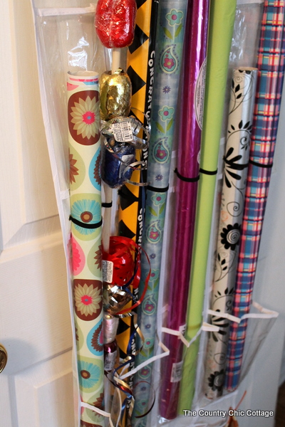 Gift Wrap Storage From An Over The Door Shoe Organizer