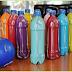 Juego de bowling hecho con botellas recicladas