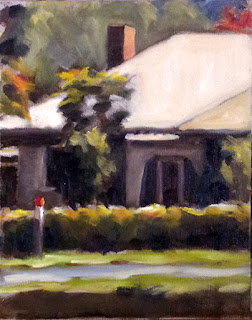 Oil painting of part of a house viewed from the front with a hedge and a road in the foreground.