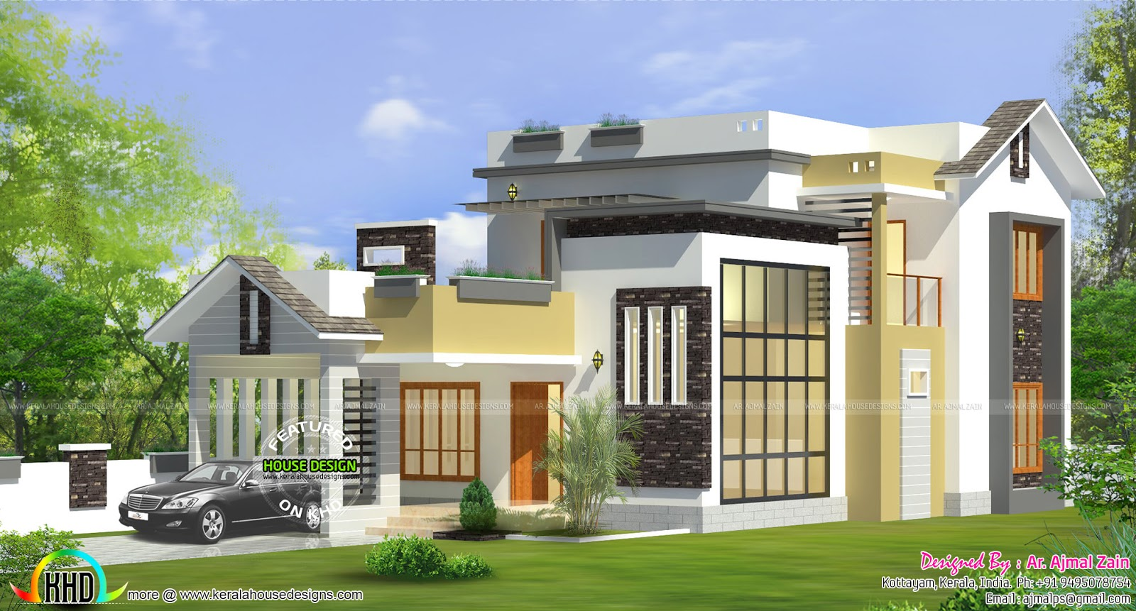 1600 sq ft modern house by ar ajmal zain kerala home for Modern house plans for 1600 sq ft