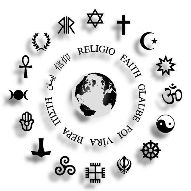 Religious Symbols Encircling Earth