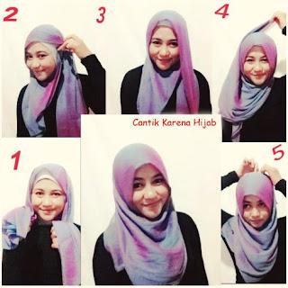 Tutorial hijab segi empat wajah bulat sederhana