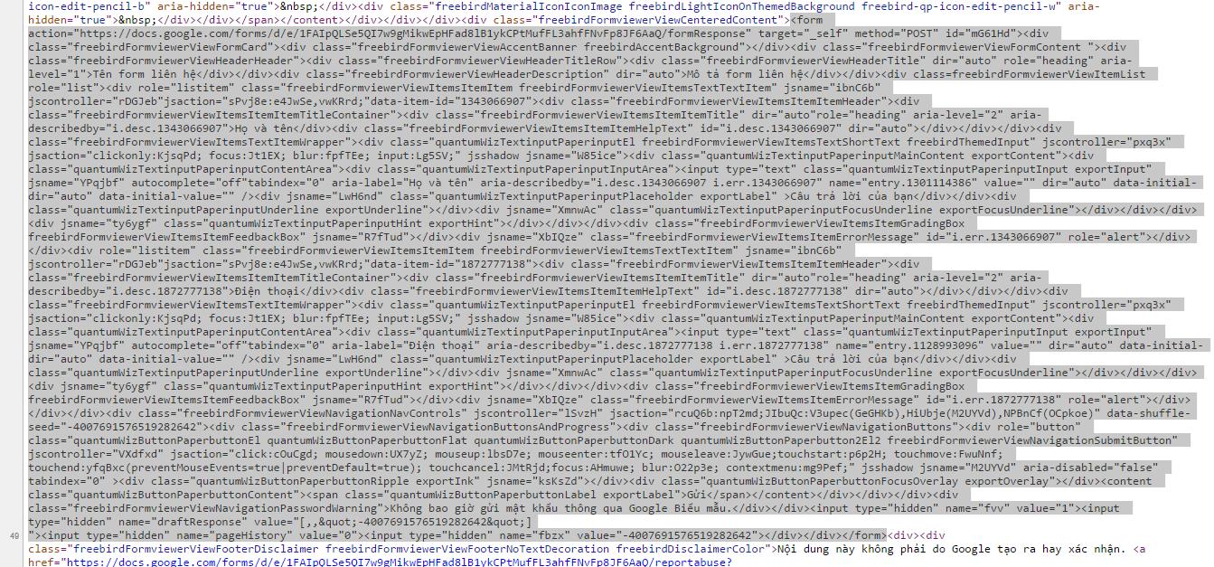 view link copy đoạn code FORM