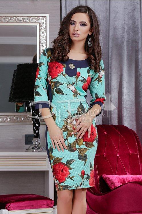 Rochie marime mare eleganta frumoasa de zi cu imprimeuri florale ieftina