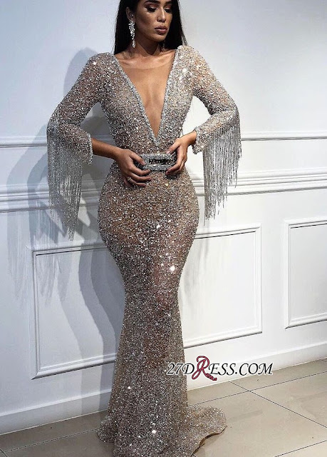 Sexy Deep V-Neck Floor-Length Sequins Evening Gown | Mermaid Crystals Tassels Prom Dress With Bow