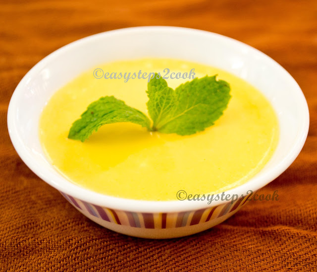 mishti doi or baked yogurt with mango
