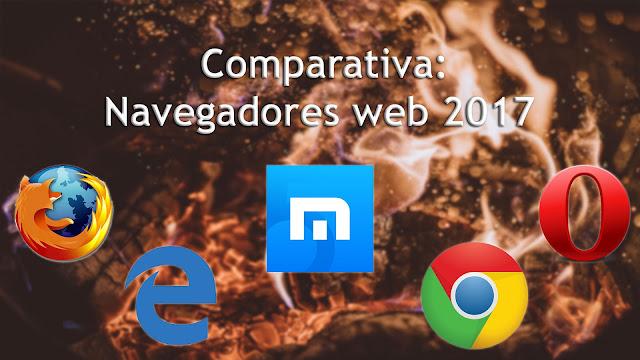 Comparativa de navegadores web para Windows 2017 de Tecnoriales. Firefox, Edge, Maxthon, Chrome, Opera