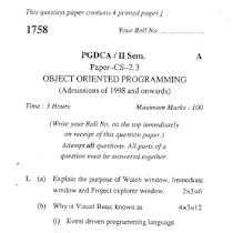 GNDU PGDCA Data Base Design 2012 Question Paper - University