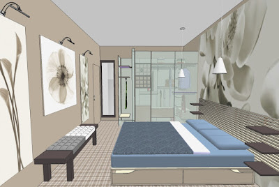 progetto camera da letto con cabina armadio