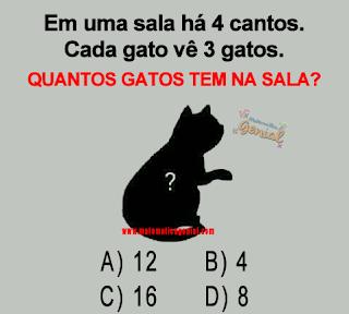 Teste - Em uma sala há 4 cantos - cada gato vê 3 gatos