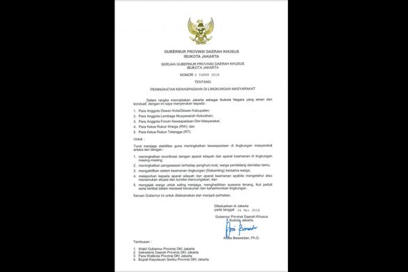 Tingkatkan Kewaspadaan, Anies Terbitkan Seruan Gubernur