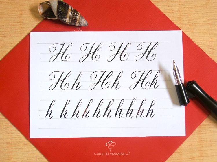 Caligrafía copperplate, ¿cómo escribir la letra H?