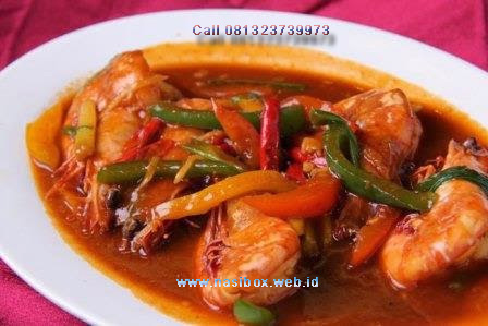 Resep udang semur pedas-nasi box walini ciwidey