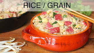 Image of a ceramic bowl of fried rice, a recipe index link to Rice / Grain page.