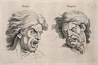 A frightened and an angry face, left and right respectively. Engraving, c. 1760, after C. Le Brun.  from Wellcome Images, a website operated by Wellcome Trust, a global charitable foundation based in the United Kingdom.