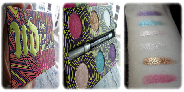 Swatch Palette The Fun Palette Teintes Woodstock, Baked, Uzi, Bottom Row, Sin, Flipside, Psychedelic Sister - Urban Decay