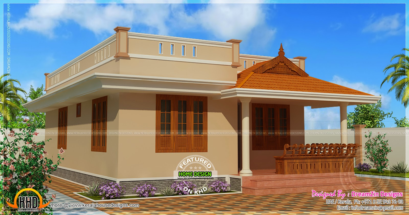Small House Elevation Kerala Style : Small house single storied in square feet home