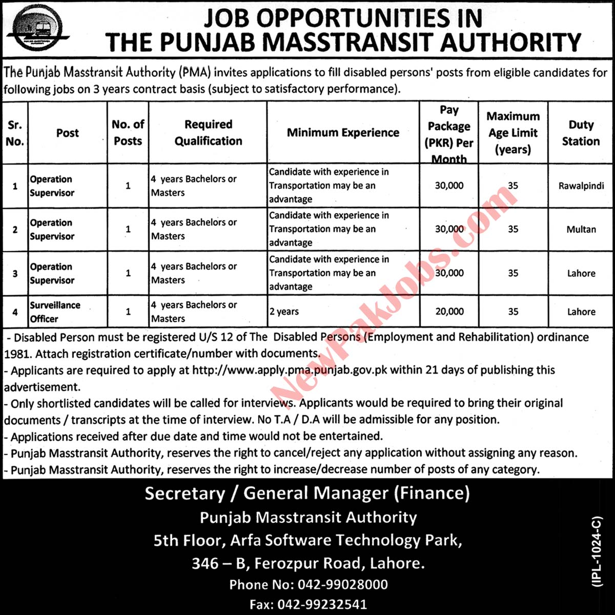 Supervisor Jobs in Punjab Mass-transit Authority PMA 2019